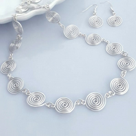 Silver spiral necklace earrings jewellery set necklaces Christmas gifts for her