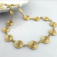 Gold spiral necklaces gold jewellery Christmas gifts for her birthday gift