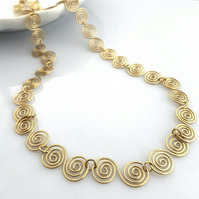 Celtic Gold spiral necklaces gold jewellery Christmas gifts for her birthday