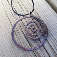 Copper wire wrap spiral pendant hoop gifts for him or her boho jewellery