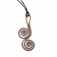 Copper wire wrap scroll pendant spiral copper pendants Christmas gifts