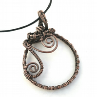 Copper wire wrapped hoop circular spiral pendant boho hippie jewellery gifts