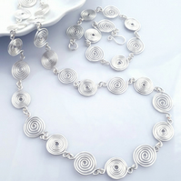 Necklace and Bracelet matching jewellery set silver spiral necklaces gift