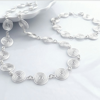 Silver spiral necklace and bracelet matching jewellery set birthday gifts