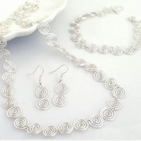 Silver spiral necklace bracelet earrings matching jewellery set gifts