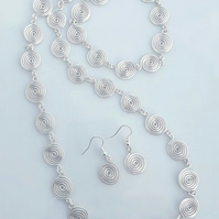 Silver spiral matching jewellery set necklace bracelet earrings gifts