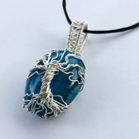 Silver Tree of Life wire wrapped Gemstone Pendant Necklace