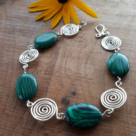 Green Malachite with Silver Spiral Bracelets gemstones jewellery Christmas gift