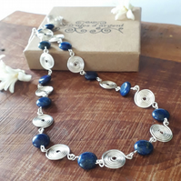 Necklaces Lapis Lazuli Silver Spiral beaded Necklace gemstones Christmas gifts