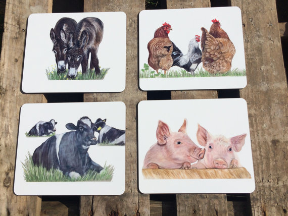 Handmade Set Of 4 Farm Animal Placemats
