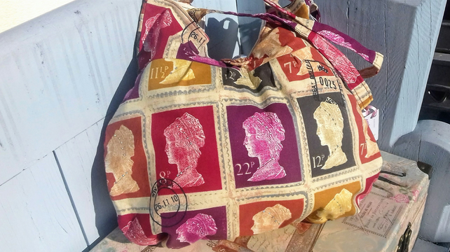 Colourful stamp fabric with added bling