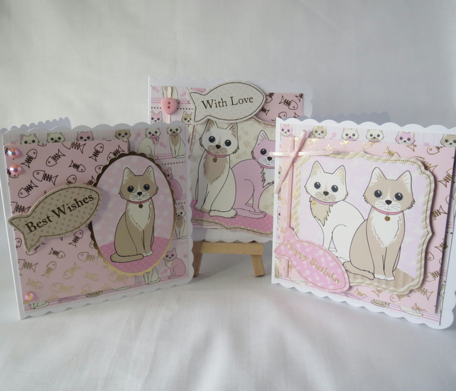Cat Birthday cards set of three