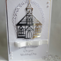 Wedding Day, Bride and Groom, Congratulations, Handmade card