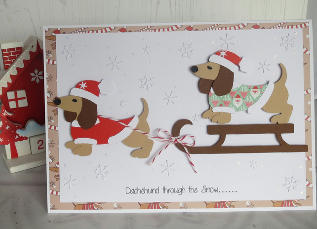 Dachshund through the Snow Handcrafted Christmas card