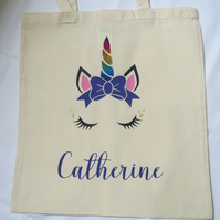 Unicorn Canvas Tote bag can be personalised with any name