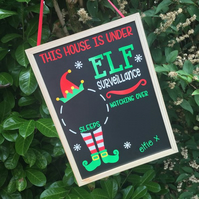 Christmas Countdown Chalkboard Wall Plaque Personalised Elf Surveillance