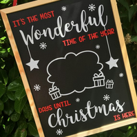 Christmas Countdown Chalkboard Wall Plaque Hanger Personalised
