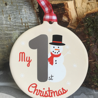First Christmas Ceramic Bauble, Snowman Christmas Decoration