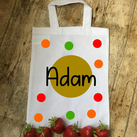 Polka dot personalised cotton party bags
