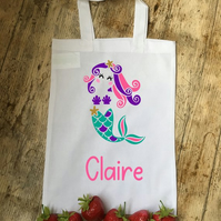 Mermaid personalised cotton party bag