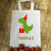 Dinasaur personlised party bag cotton