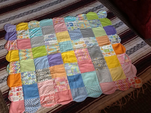 "Patchwork Baby Quilt 39"" x 37"" with Scallop edge detail"