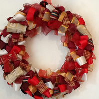 SALE REDUCED Beautiful Unique Christmas Ribbon Wreaths