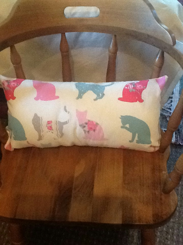 "Lovely cat print Bolster Cushion 20"" x12"" SOLD"