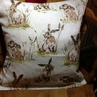 "Lovely Hare Print Cushion 16""x16"" app"
