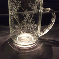Hand engraved Rose tankard