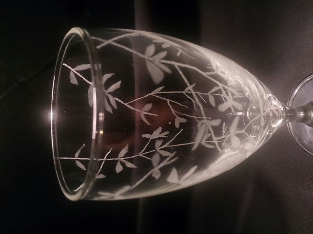hand engraved leaf designed glass