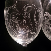 Kraken etched wine glasses