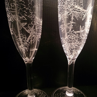 Roses engraved champagne glasses