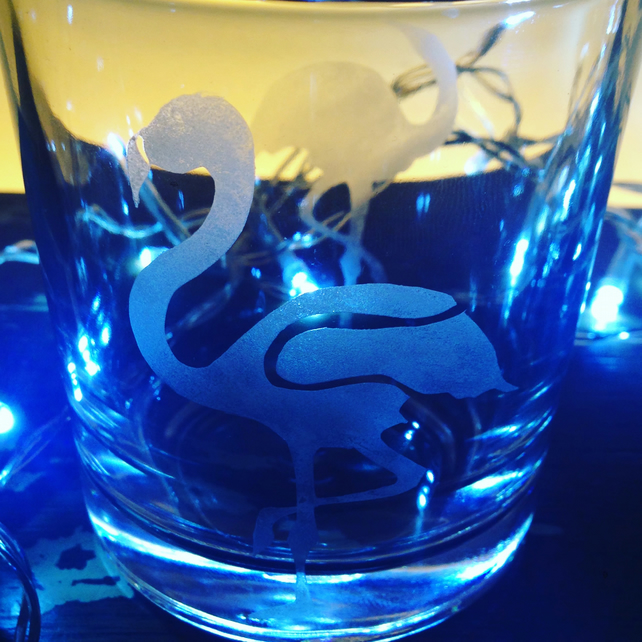 Engraved flamingo tumbler