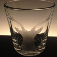 hand etched stag head tumbler