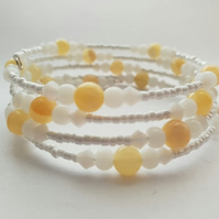 White and honey beaded stack bracelet