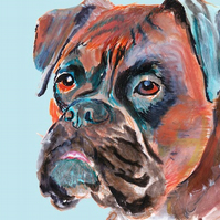 Boxwe dog painting print art brindle and blue a4 signed print