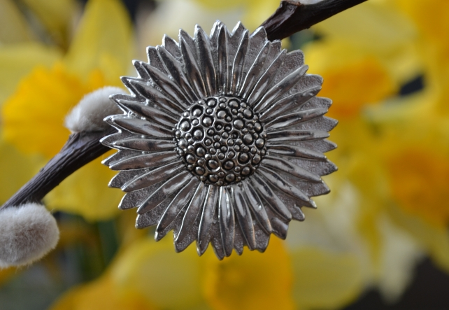 Sunflower pewter brooch