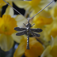 Dragonfly pewter pendant necklace with sterling silver chain