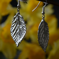 Rose leaf pewter earrings