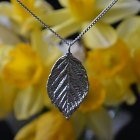 Rose leaf pewter pendant necklace with sterling silver chain