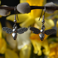 Bee pewter earrings