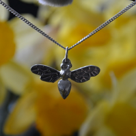 Bee pendant necklace with sterling silver chain