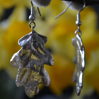 Oak leaf pewter earrings