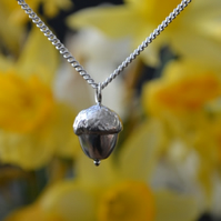Acorn pendant necklace with sterling silver chain