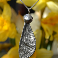 Sycamore seed pod pendant necklace with sterling silver chain