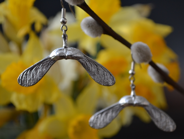 Sycamore double seed pod pewter earrings