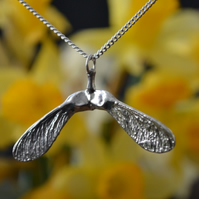Sycamore double seed pod pendant necklace with sterling silver chain