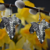 Ivy leaf pewter earrings