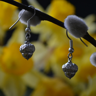 Acorn pewter earrings